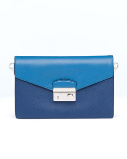 Prada Saffiano Bi-Color Sound Bag, Blue