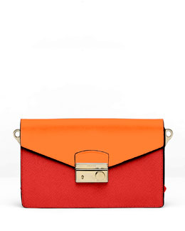 Prada Saffiano Bi-Color Sound Bag, Red/Papaya