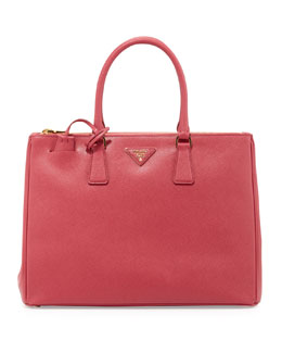 Prada Saffiano Executive Tote Bag, Pink (Peonia)