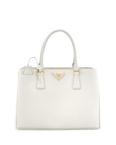 0eea04575b02 Prada Saffiano Small Gardener's Tote Bag, White (Talco) Don't Miss ...