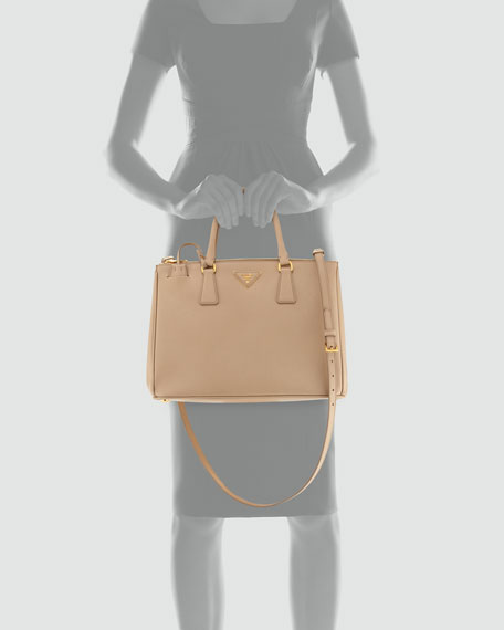 Saffiano Double-Zip Executive Tote Bag, Beige (Sabbia)