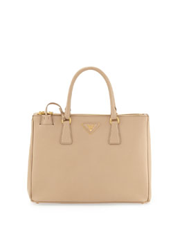 Prada Saffiano Small Double-Zip Executive Tote Bag, Beige (Sabbia)