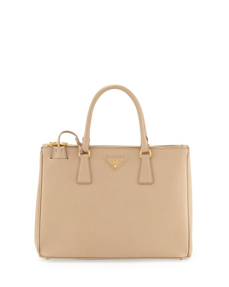 Prada Saffiano Double-Zip Executive Tote Bag, Beige (Sabbia)