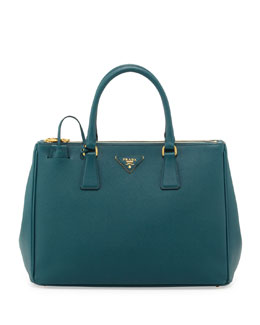 Prada Saffiano Small Double-Zip Executive Tote Bag, Teal (Ottanio)