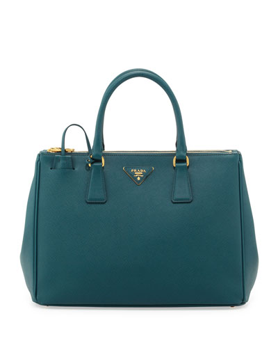 Saffiano Double-Zip Executive Tote Bag, Teal (Ottanio)