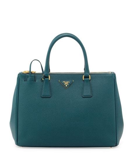 Saffiano Double-Zip Executive Tote Bag, Teal (Ottanio)
