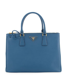 Prada Saffiano Small Double-Zip Executive Tote Bag, Cobalt (Cobalto)