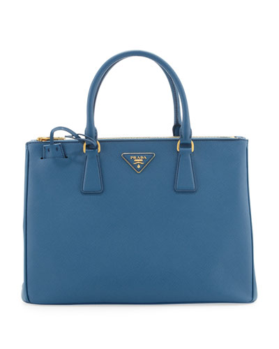 Prada Saffiano Double-Zip Executive Tote Bag, Cobalt (Cobalto)