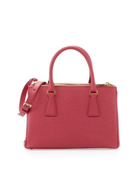 Saffiano Double-Zip Mini Crossbody, Pink (Peonia)