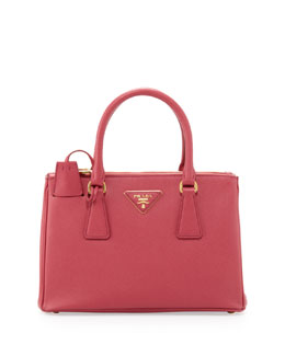 Prada Saffiano Double-Zip Mini Crossbody, Pink (Peonia)