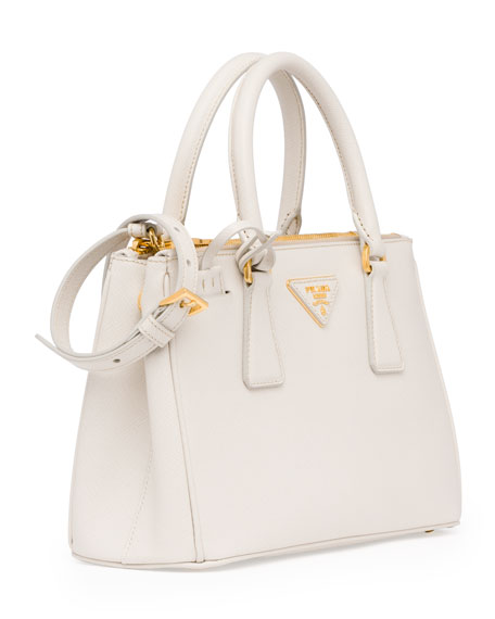 Saffiano Double-Zip Mini Crossbody, White (Talco)