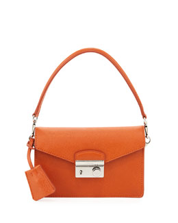 Prada Saffiano Mini Sound Bag, Orange (Papaya)