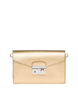 Prada Saffiano Mini Sound Bag, Gold
