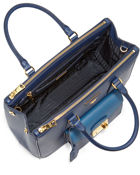 Saffiano Galleria Tote with Pocket, Blue (Bluette+Cobalto)