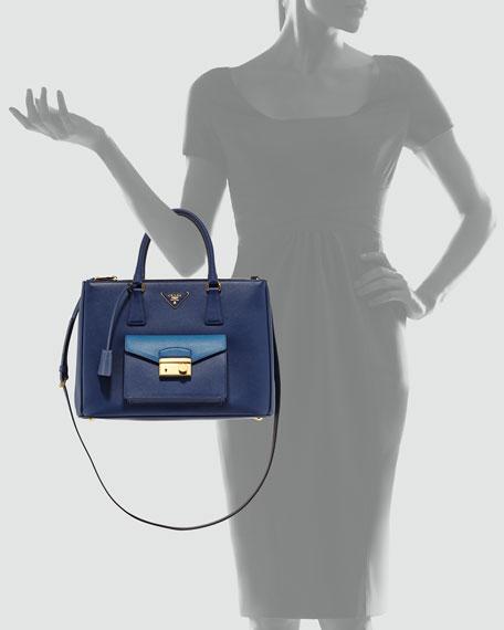 Saffiano Galleria Tote with Pocket, Blue (Bluette+Cobalto)
