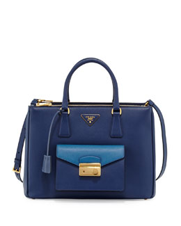 Prada Saffiano Galleria Tote with Pocket, Blue (Bluette+Cobalto)