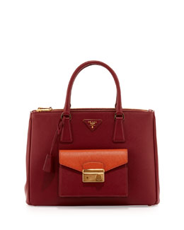 Prada Saffiano Galleria Tote with Pocket, Red/Orange (Cerise+Papaya)