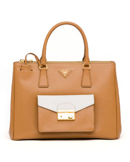 Prada Saffiano Galleria Tote with Pocket, Brown/White (Caramel+Talco)