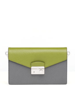 Prada Saffiano Bi-Color Sound Bag, Green/Gray (Mercurio+Edera)