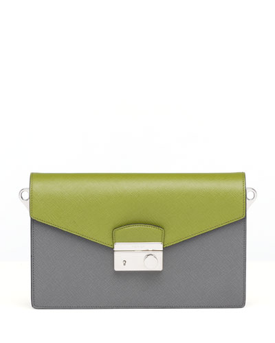 Saffiano Bi-Color Sound Bag, Green/Gray (Mercurio+Edera)