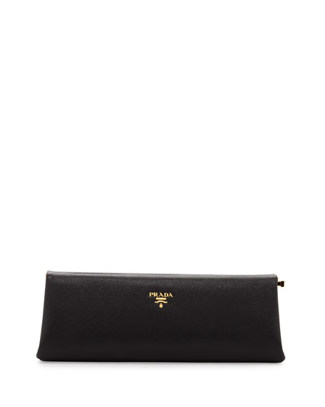Prada Saffiano East-West Frame Clutch Bag, Black (Nero)