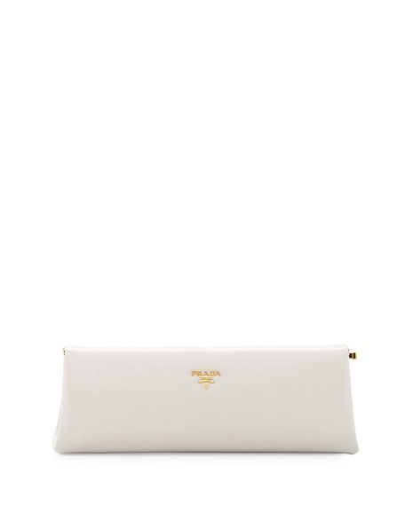 Prada Saffiano East-West Frame Clutch Bag, White (Talco)