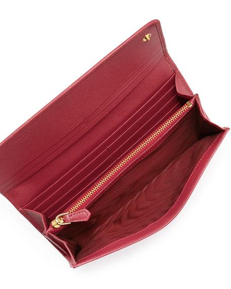 327a444facc2b2 Prada Saffiano Triangle Continental Flap Wallet, Pink (Peonia)