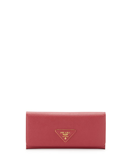 prada bags discount - Prada Saffiano Triangle Continental Flap Wallet, Pink (Peonia)