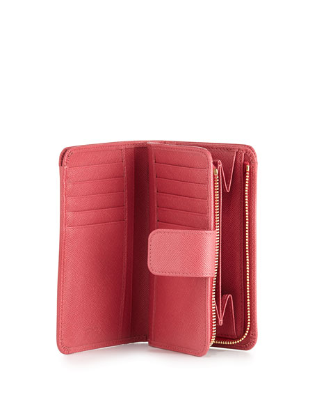 parda bag - Prada Saffiano Triangle Bi-Fold Tab Wallet, Pink (Peonia)
