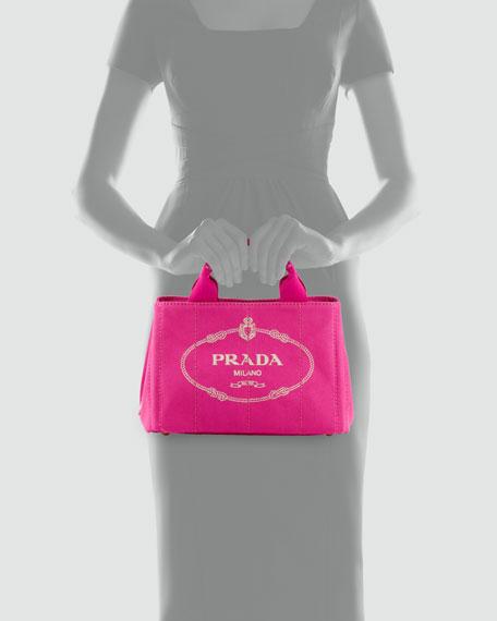 Canvas Mini Logo Tote with Strap, Pink (Fuxia)