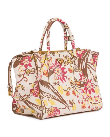 Floral-Print Saffiano Large Twin Pocket Tote Bag, White Multi (Talco Dis.Ramage)