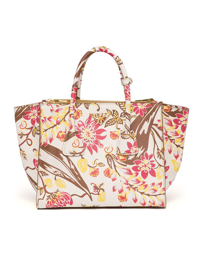Prada Floral-Print Saffiano Large Twin Pocket Tote Bag, White Multi (Talco Dis.Ramage)