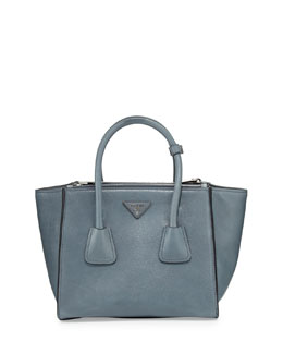Prada Glace Calf Small Twin Pocket Tote Bag, Dark Blue (Marine)