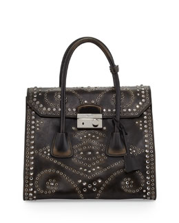 Prada Vitello Vintage Large Embellished Tote Bag, Black (Nero)
