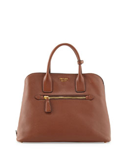 Prada Saffiano Cuir Open Promenade Tote Bag, Brown (Marrone)