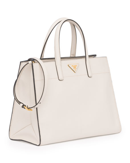 Saffiano Soft Triple-Pocket Tote Bag, White (Talco)