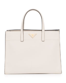 Prada Saffiano Soft Triple-Pocket Tote Bag, White (Talco)
