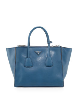 Prada Glace Calf Twin Pocket Tote Bag, Cobalt (Cobalto)