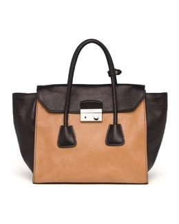 Prada Glace Calf Large Twin Pocket Tote Bag, Natural/Black (Naturale+Nero)