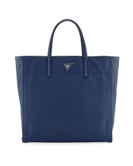 Prada Saffiano Magazine Tote Bag, Blue (Bluette)