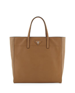 Prada Saffiano Magazine Tote Bag, Brown (Caramel)