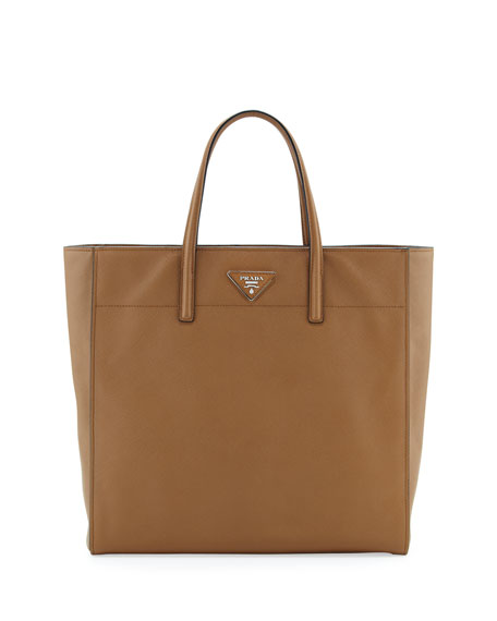 Saffiano Magazine Tote Bag, Brown (Caramel)
