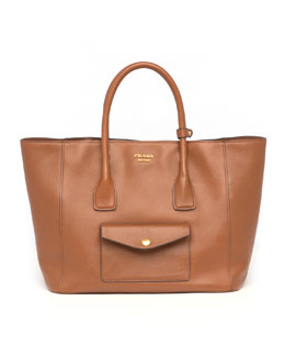 Prada Saffiano Cuir Pocket Tote Bag, Brown (Marrone)