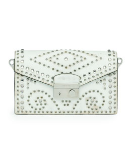 Prada Vitello Vintage Sound Bag, White (Bianco)