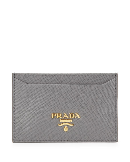 Prada Saffiano Card Holder, Gray (Marmo)