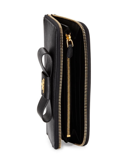 8c06fd026fa766 Prada Saffiano Bow Zip Around Wallet, Black (Nero)