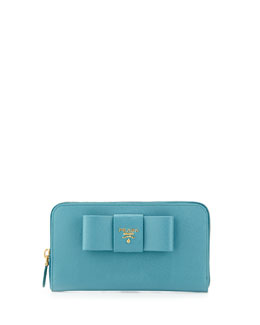 Prada Saffiano Bow Zip Around Wallet, Turquoise (Turquese)