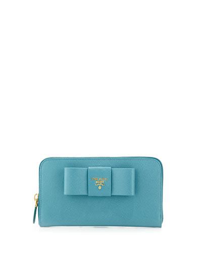 Prada Saffiano Bow Zip Around Wallet, Turquoise (Turquese)