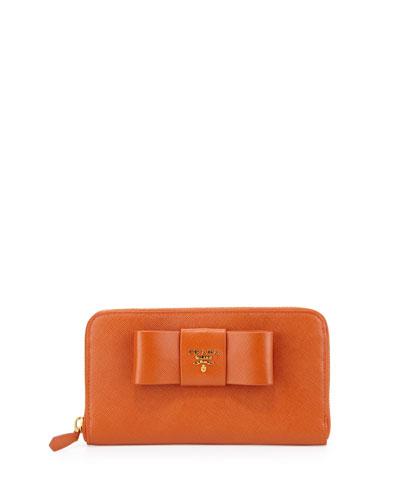 Saffiano Bow Zip Around Wallet, Orange (Papaya)