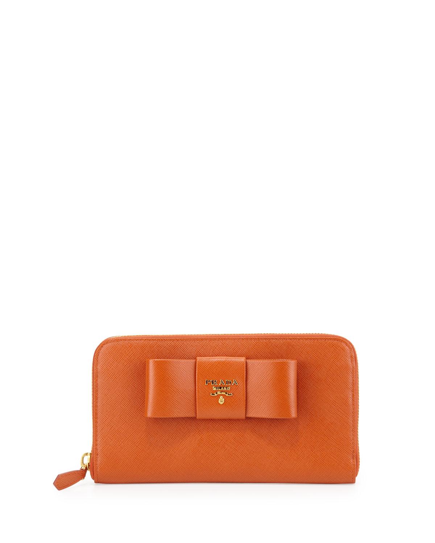6817e381c094fc Prada Saffiano Bow Zip Around Wallet, Orange (Papaya)   Neiman Marcus